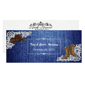 Botas & laço da sarja de Nimes que Wedding cartões