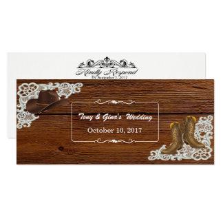 Botas & laço do país que Wedding cartões de RSVP