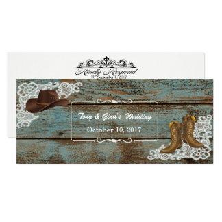 Botas & laço rústicos que Wedding cartões de RSVP