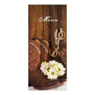Botas, margaridas e menu do casamento do país do 10.16 x 22.86cm panfleto