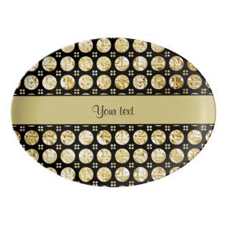 Botões à moda do falso do ouro travessa de porcelana