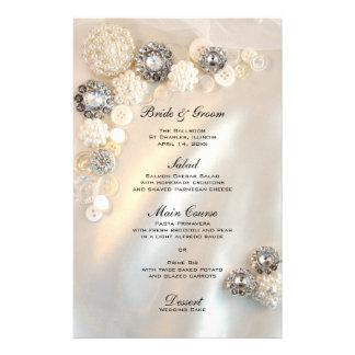 Botões da pérola e do diamante que Wedding o menu Papéis Personalizados