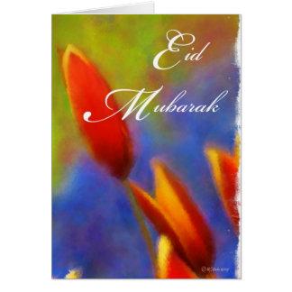 Botões da tulipa de Eid Mubarak Cartão Comemorativo