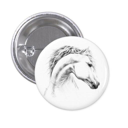 Botões do desenho de lápis do retrato do cavalo botons
