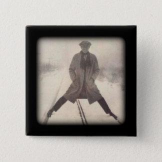 Bóton Quadrado 5.08cm 1920 da foto c da estrada de ferro do vintage