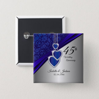 Bóton Quadrado 5.08cm 45th Design 2 do aniversário de casamento