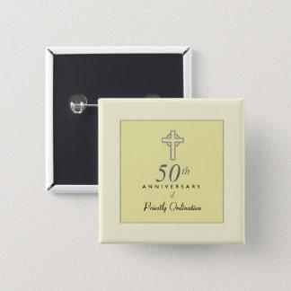 Bóton Quadrado 5.08cm 50th Aniversário do padre com cruz gravada