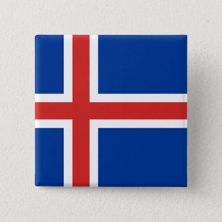 Bóton Quadrado 5.08cm A bandeira de Islândia