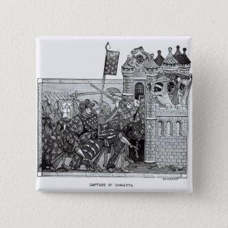 Bóton Quadrado 5.08cm A captação de Damietta em 1249