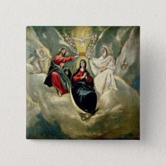 Bóton Quadrado 5.08cm A coroação do Virgin, c.1591-92