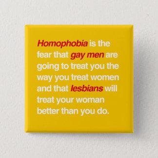 BÓTON QUADRADO 5.08CM A HOMOFOBIA É O MEDO QUE OS HOMEM GAY O TRATARÃO
