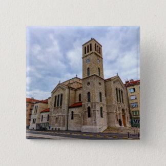 Bóton Quadrado 5.08cm A igreja de St Joseph em Sarajevo. Bósnia e Herz