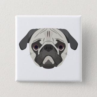 Bóton Quadrado 5.08cm A ilustração persegue o Pug da cara