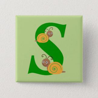 Bóton Quadrado 5.08cm A letra S brian do monograma o caracol caçoa o