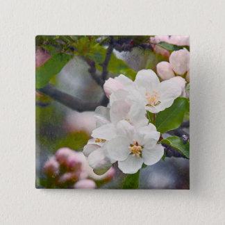 Bóton Quadrado 5.08cm A páscoa branca do primavera floresce o botão