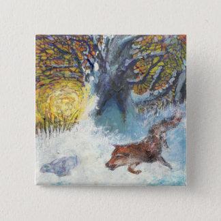 Bóton Quadrado 5.08cm A raposa e o coelho - botão do animal selvagem