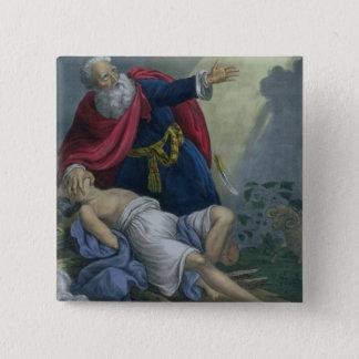 Bóton Quadrado 5.08cm Abraham que oferece acima de seu filho Isaac, de