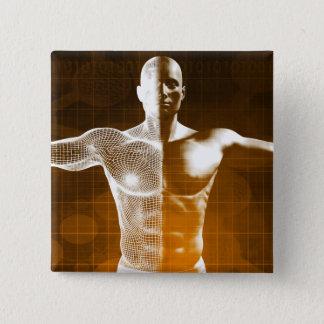 Bóton Quadrado 5.08cm Abstrato da ciência como uma arte do fundo do