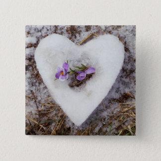 Bóton Quadrado 5.08cm Açafrão do primavera na fotografia do coração da