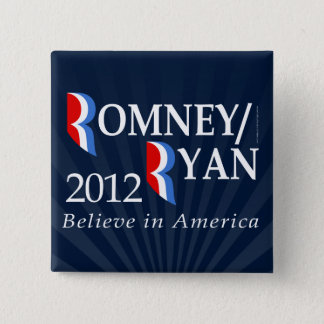 Bóton Quadrado 5.08cm Acredite em América, Romney/Ryan 2012