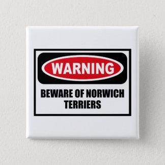 Bóton Quadrado 5.08cm Advertir BEWARE do botão dos TERRIER de NORWICH