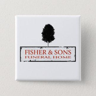 Bóton Quadrado 5.08cm Agência funerária de Fisher & de filhos