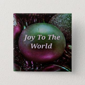 Bóton Quadrado 5.08cm Alegria moderna do rosa verde do Natal ao mundo
