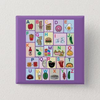 Bóton Quadrado 5.08cm Alfabeto de ABC que aprende o design feliz dos