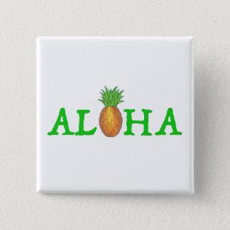 Bóton Quadrado 5.08cm ALOHA botão havaiano do abacaxi da ilha tropical