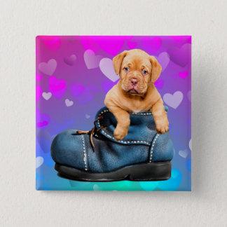 Bóton Quadrado 5.08cm Ame Coração Dogue de Bordéus Filhote de cachorro