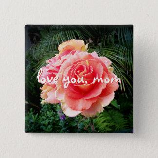 """Bóton Quadrado 5.08cm """"Ame-o botão brilhante da foto do rosa do rosa das"""