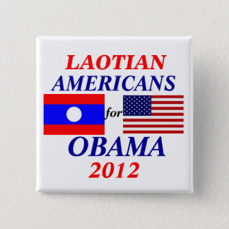Bóton Quadrado 5.08cm Americanos Laotian para Obama