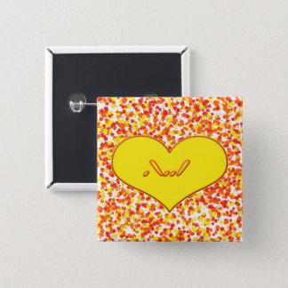 Bóton Quadrado 5.08cm Amor de ASL-I você com coração por Shirley Taylor