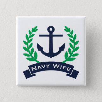 Bóton Quadrado 5.08cm Âncora da esposa do marinho
