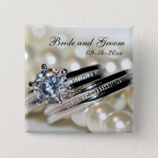 Bóton Quadrado 5.08cm Anéis e pérolas brancas que Wedding