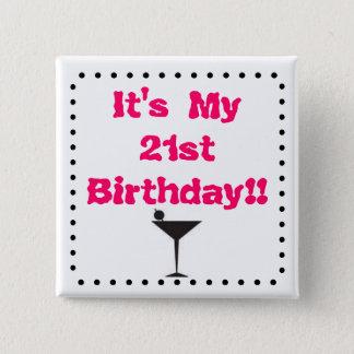 Bóton Quadrado 5.08cm Aniversário de 21 anos com vidro de Martini