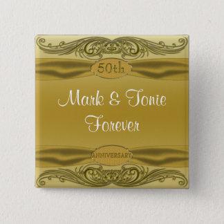 Bóton Quadrado 5.08cm Aniversário de casamento dos rolos 50th do ouro