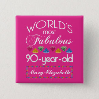 Bóton Quadrado 5.08cm aniversário do 90 a maioria de rosa colorido