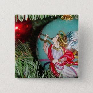 Bóton Quadrado 5.08cm Anjo do Natal - arte do Natal - decorações do anjo