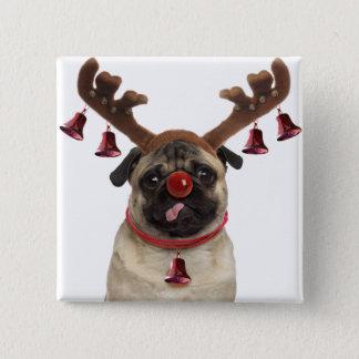 Bóton Quadrado 5.08cm Antlers do Pug - pug do Natal - Feliz Natal