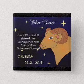 Bóton Quadrado 5.08cm Aries o botão do sinal do zodíaco do horóscopo da