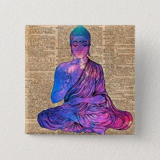 Bóton Quadrado 5.08cm Arte do dicionário do vintage de Buddha do espaço