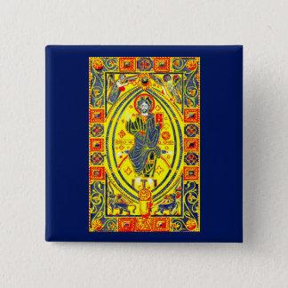 Bóton Quadrado 5.08cm Arte popular bizantina Jesus