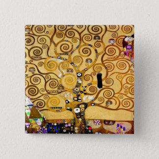 Bóton Quadrado 5.08cm Árvore de Gustavo Klimt da arte Nouveau da vida