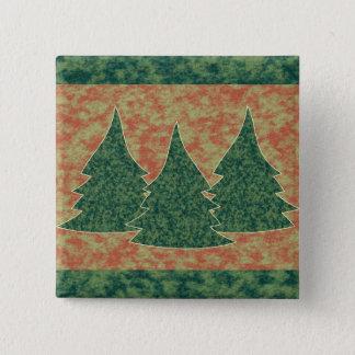 Bóton Quadrado 5.08cm Árvore de Natal verde