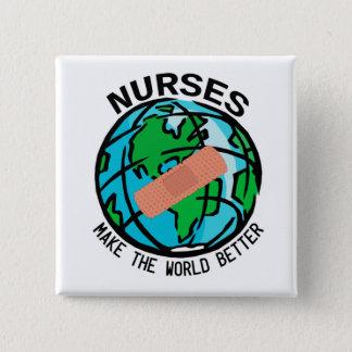 Bóton Quadrado 5.08cm As enfermeiras fazem ao mundo o melhor botão do