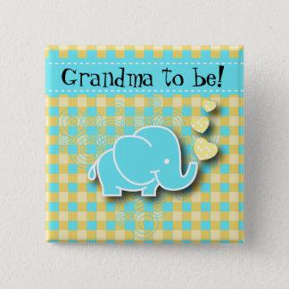 Bóton Quadrado 5.08cm Avó azul e amarela do elefante | do bebê a ser