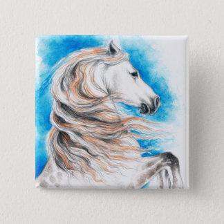 Bóton Quadrado 5.08cm Azul andaluz do cavalo