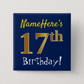 Bóton Quadrado 5.08cm Azul, aniversário do ouro do falso 17o, com nome