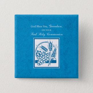 Bóton Quadrado 5.08cm Azul do comunhão do neto primeiro, trigo, uvas